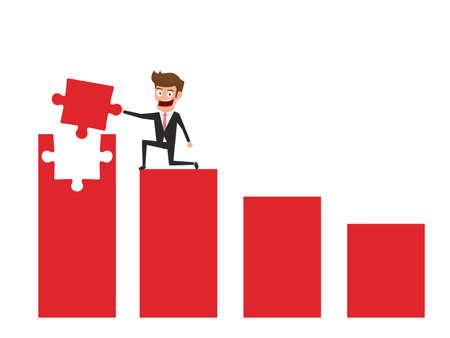 Businessman on red graph holding puzzle piece raising the graph. Solving finances concept. Cartoon Vector Illustration. Illustration