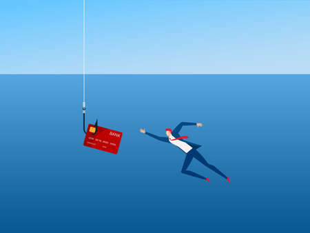 Businessman and phishing hook credit card. Thief Hacker steal your data credit card and money. Dangerous finance situation. Cartoon Vector Illustration.
