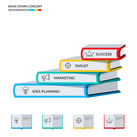 successful student: Successful book stairs infographics template. Stairs step made of books to success. Cartoon Vector Illustration.