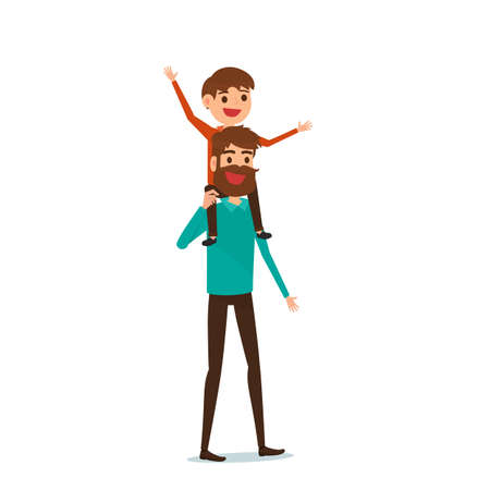 Happy Fathers Day. Happy family concept. Dad carrying little son on his shoulders. Cartoon Vector Illustration. Illustration