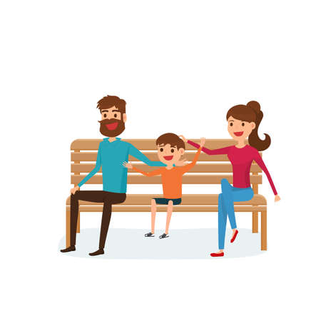 Happy family sitting on a bench in the park. Father, mother and children. Flat design style. Cartoon Vector Illustration.