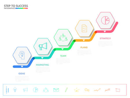 Stair step to success concept. Modern colorful business timeline hexagon infographics template with icons and elements. can be used for workflow layout, banner, diagram, number options, web design. Infographics Vector Illustration.