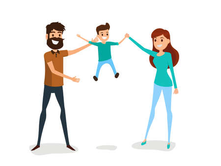 smile happy: Happy family father, mother and son concept. Happy family gesturing with cheerful smile. Cartoon Vector Illustration.