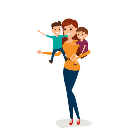Happy family mother and 2 son. Happy family gesturing with cheerful smile. Cartoon Vector Illustration.