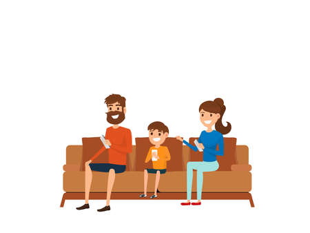 couches: Family technology concept. Family sitting on sofa in living room and using smart phone. Cartoon Vector Illustration. Illustration