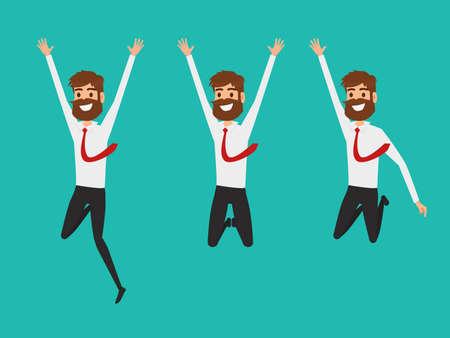 실업가 문자 평면 디자인입니다. 그들의 성공을 축하하는 공기에 점프 행복 하 고 성공적인 사업가. 만화 벡터 일러스트 레이션