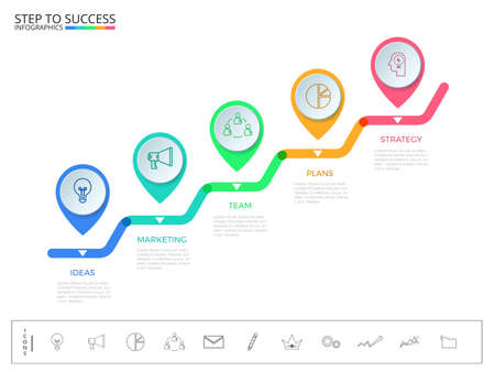 Stair step to success concept. Business timeline modern colorful pointer infographics template with icons and elements
