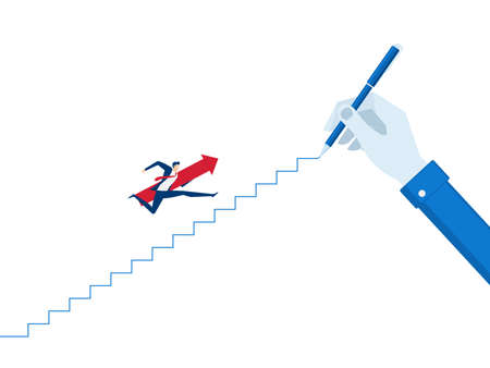 Businessman big hand drawing a line leading to the goal. Businessman with red arrow sign jump on the stairs step to success. Cartoon Vector Illustration.
