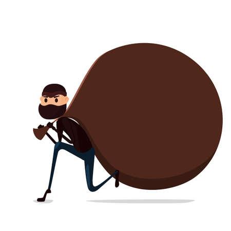 housebreaking: Thief Flat character design. Bandit with big bag. Robber in mask. Cartoon Vector Illustration. Illustration