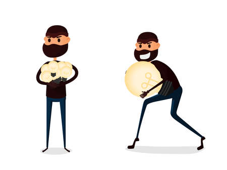 resourceful: Flat character design Piracy concept. Thief stealing and holding light bulb idea. Cartoon Vector Illustration. Illustration