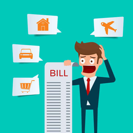 Businessman holding bills feels headache and worried about paying a lot of bills. Businessman no money. debt concept. Cartoon Vector Illustration. Ilustração