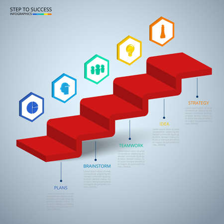targets: Infographics 3D Stair step to success concept. Business timeline modern colorful infographics template with icons and elements. Can be used for workflow layout, banner, diagram, web design. Infographics Vector Illustration. Illustration