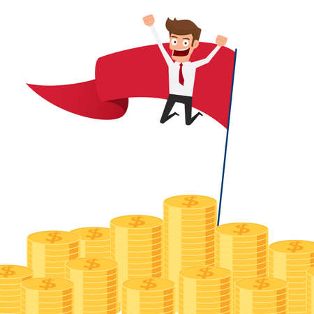 wealth concept: Businessman jumping on money pile and red flag. Investment and saving concept. Increasing capital and profits. Wealth and savings growing. Cartoon Vector Illustration. Illustration
