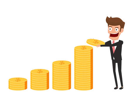 Investment and saving concept. Businessman holding gold coin. Increasing capital and profits. Wealth and savings growing. Cartoon Vector Illustration. Illustration