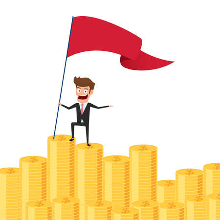 wealth concept: Businessman proudly standing on money stack and set a red flag. Investment and saving concept. Increasing capital and profits. Wealth and savings growing. Cartoon Vector Illustration.