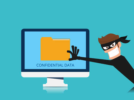 Thief. Hacker stealing confidential data document folder from computer useful for anti phishing and internet viruses campaigns. concept hacking internet social network. Cartoon Vector Illustration. Фото со стока - 77166822