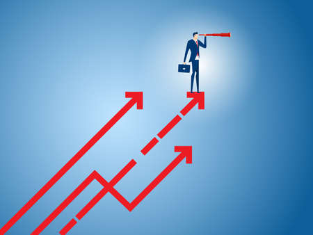 Businessman stand on arrow growth graph using telescope looking for success, opportunities, future business trends. Vision concept. Cartoon Vector Illustration.