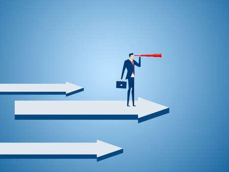 Soporte del hombre de negocios en flecha del gráfico usando el telescopio que busca el éxito, oportunidades, tendencias comerciales futuras. Concepto de visión. Ilustración vectorial de dibujos animados.
