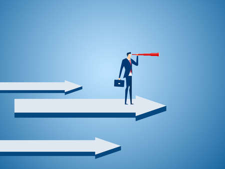 Businessman stand on graph arrow using telescope looking for success, opportunities, future business trends. Vision concept. Cartoon Vector Illustration.
