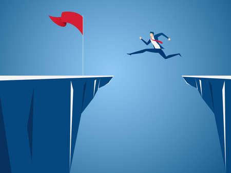 Hombre de negocios saltar a través de los obstáculos entre la colina a la bandera roja y el éxito. Correr y saltar sobre los acantilados. Riesgo empresarial y concepto de éxito. Ilustración Del Vector De La Historieta.