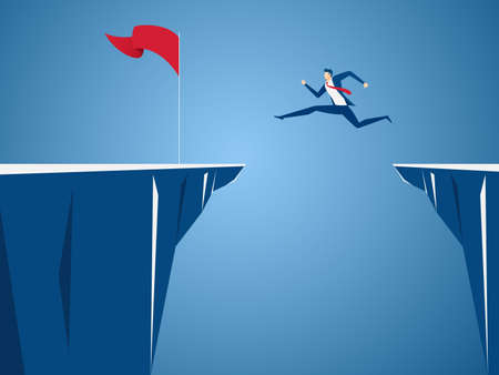 Businessman jump through the gap obstacles between hill to red flag and success. Running and jump over cliffs. Business risk and success concept. Cartoon Vector Illustration.