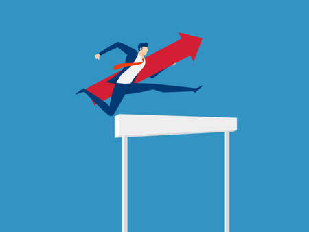 Overcome obstacles and success concept. Businessman holding red arrow jumping over hurdle race obstacle. Cartoon Vector Illustration 일러스트
