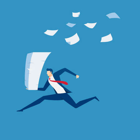 Businessman running with stack of paperwork in hand. Time pressure, stress, overworked and deadline concept. Cartoon Vector Illustration.