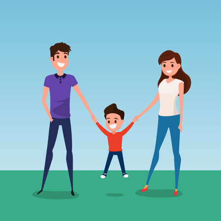 father and child: Happy family walking together and hold in hand. Father mother and son. Flat design style. Cartoon Vector Illustration.