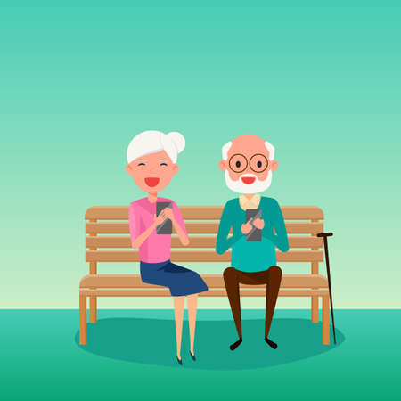 using smart phone: Elderly couple.Happy Grandparents day. Grandparents using smart phone sitting on a bench in the park. Cartoon Vector Illustration.