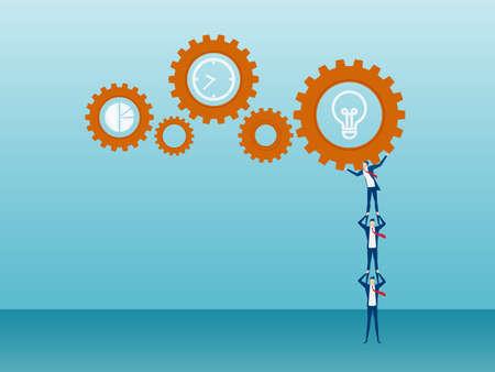 Teamwork concept. Business team raising and pushing business mechanism operation to success. Cartoon Vector Illustration. Illustration