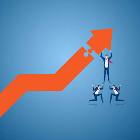 Business team using stairs to building growth graph and preparing for the big profit. Solving finances concept. Cartoon Vector Illustration
