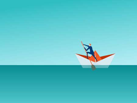 Concept d'entreprise de gestion de solutions. Homme d'affaires rampant un bateau en papier sur la mer à la recherche de succès, d'opportunités, de tendances commerciales futures. Illustration vectorielle de bande dessinée.