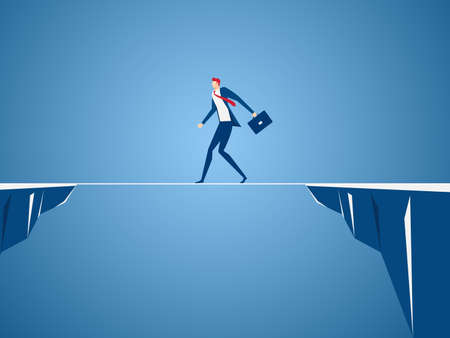 Businessman walking tightrope across the gap between hill. Walking over cliffs.Business risk and success concept. Cartoon Vector Illustration.