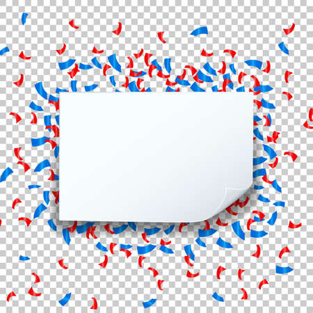 Celebrate festive holiday party design with confetti and speech bubble square frame transparent background. Vector Illustration.