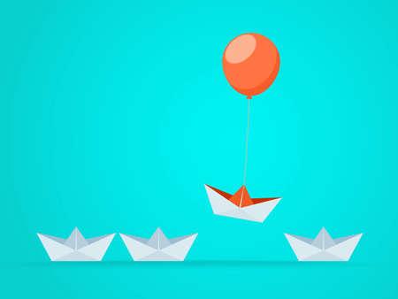 Sobresaliente, el barco se eleva con un globo. Oportunidades de ventaja comercial y concepto de éxito. Singularidad, liderazgo, independencia, iniciativa, estrategia, disidencia, pensar diferente. Ilustración vectorial