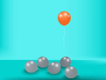 Stand out from the crowd. Outstanding unique orange balloon. Business success concept. Uniqueness, leadership, independence, initiative, strategy, dissent, think different. Vector Illustration Illustration