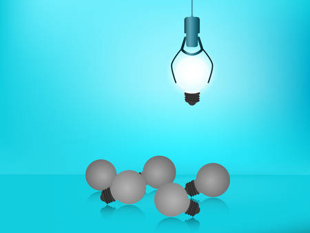Stand out from the crowd. Choose outstanding glowing light bulb. Business success concept. Uniqueness, leadership, independence, initiative, strategy, dissent, think different, research. Vector Illustration Illustration