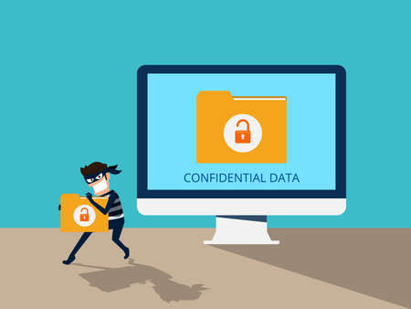 Thief. Hacker stealing confidential data document folder from computer useful for anti phishing and internet viruses campaigns. concept hacking internet social network. Cartoon Vector Illustration. Banco de Imagens - 82181101
