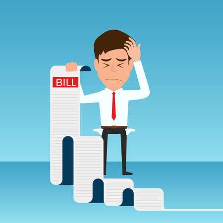 Businessman holding bills feels headache and worried about paying a lot of bills. Businessman no money. debt concept. Cartoon Vector Illustration. Çizim