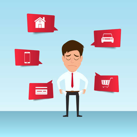 Businessman show his empty pocket feels headache and worried about paying a lot of bills. Businessman no money. debt concept. Cartoon Vector Illustration. Ilustração