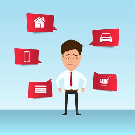 Geschäftsmannshow seine leere Tasche glaubt Kopfschmerzen und sorgt sich um das Zahlen vieler Rechnungen. Geschäftsmann kein Geld. Schulden-Konzept. Karikatur-Vektor-Illustration. Standard-Bild - 82181412