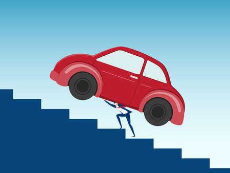 overload: Businessman carrying huge car debt on his back. Debt concept. Cartoon Vector Illustration. Illustration