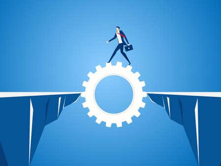 Zakenman die radertjetoestel gebruiken om door het hiaat tussen heuvel te kruisen. Bedrijfsrisico en succesconcept. Cartoon vectorillustratie.