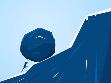 Empresario empujando gran piedra por la colina. Problema de crisis de problema de negocio y concepto de carga. Ilustración vectorial de dibujos animados.