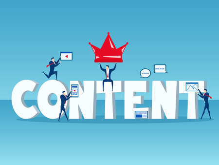 Content is king. Business team with big word Content concept of content digital marketing with icons and elements. Cartoon Vector Illustration.