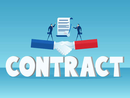 Businessman standing on big handshake and big word Contract. Business agreement concept. Cartoon Vector Illustration.