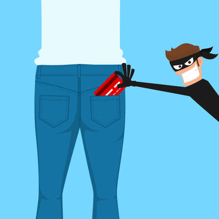 Pickpocket thief stealing a credit card from back jeans pocket, cartoon vector illustration