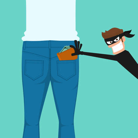 Pickpocket thief stealing a wallet from back jeans pocket, cartoon vector illustration. Illustration