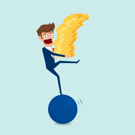 Businessman holding money stack while standing on a big ball and try to balance on the ball. Investment and risk concept cartoon vector illustration. Illustration