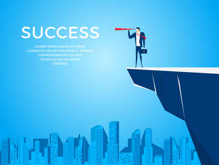 Businessman standing on a cliff edge mountain using telescope looking for success, opportunities, and future business trends. Vision concept cartoon vector illustration.